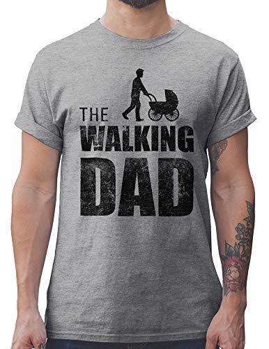 Shirtracer The Walking Dad Mens T-Shirt Festa del papà Regalo di Compleanno (Grigio, XXL)