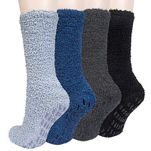 Chalier 4 Paare Flauschige Kuschelsocken Socken Weiche Bequeme Winter Dicke Socken Warme Bett Herren Socken Geschenke für Männer Frauen