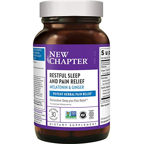 New Chapter Sleep Aid, Restful Sleep and Pain Relief with Non-GMO Melatonin & Ginger - 30 Count