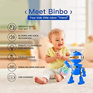 Inncen Boy Toys Robot BINBO for Kids,Interactive Mini Robots with USB Charging, Talking Repeat & Swing Robot Toys for…