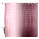 Duschvorhang aus Stoff, rot & weiß, kariert, Duschvorhang für Badezimmer, wasserdicht, mit 12 Haken, maschinenwaschbar, 183 x 180 cm