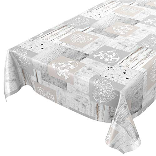 ANRO Wachstuch Tischdecke abwaschbar Wachstuchtischdecke Wachstischdecke Holz Granit Herz Patchwork 100x140cm