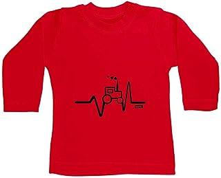 HARIZ Camiseta de manga larga para bebé, diseño de tractor, coche de policía, tarjeta de regalo de bomberos, color rojo, 1...