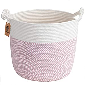 "Goodpick Cotton Rope Basket with Handle for Baby Laundry Basket Toy Storage Blanket Storage Nursery Basket Soft Storage Bins Baby Gift Basket Natural Woven Basket, 15"" × 15"" × 14.2"", Pink"