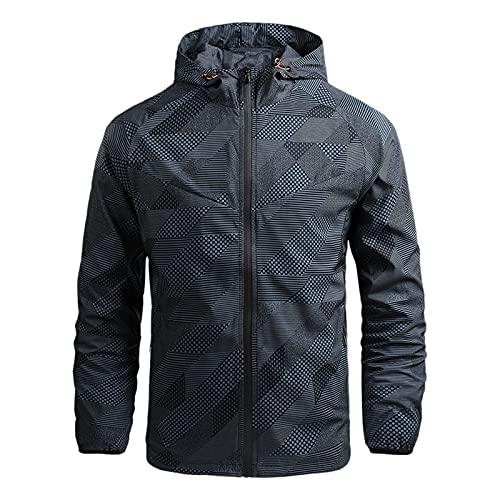 Dasongff - Chubasquero para hombre, impermeable, transpirable, con capucha, tallas grandes, para trabajo o para el aire libre, ligera, para el tiempo libre