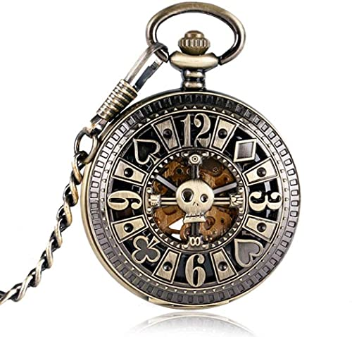JZDH Pocket Watch Steampunk Pocket Reloj Reloj Poker Skull Pattern Lujo Retro Hollow Automático Mecánico Moda Bronce Copos