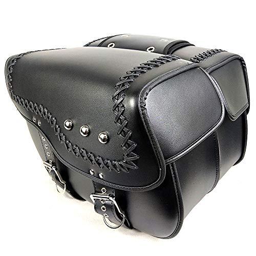 Verschleißfeste Leder Motorrad Satteltasche Set - 2 Stück wasserdichte verdickte Motorrad-Satteltaschen, Motorrad-Werkzeugtasche mit Beschlagteilen