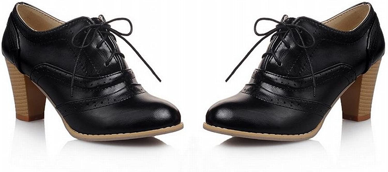 Charm Foot Women Lace up Oxfords shoes Black