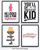 Christmas Movie Art Prints (Set of Four) 8x10in Signs Decoration Decor You'll Shoot Your Eye Out