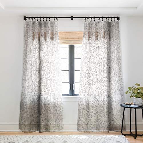 Deny Designs Holli Zollinger Poppy Grey Sheer Window Curtain, 50