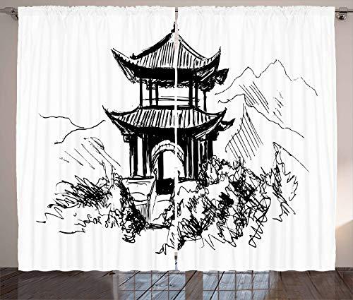 ABAKUHAUS Antikes China Rustikaler Vorhang, Skizzen-Pavillon, Wohnzimmer Universalband Gardinen mit Schlaufen und Haken, 280 x 175 cm, Weiß Schwarz