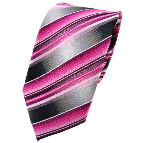 TigerTie Designer Krawatte in rosa pink magenta anthrazit silber grau gestreift - Tie Binder