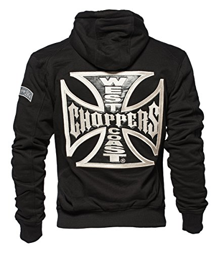 West Coast Choppers Zip Hoody Cross Panel, Farbe:black;Größe:2XL