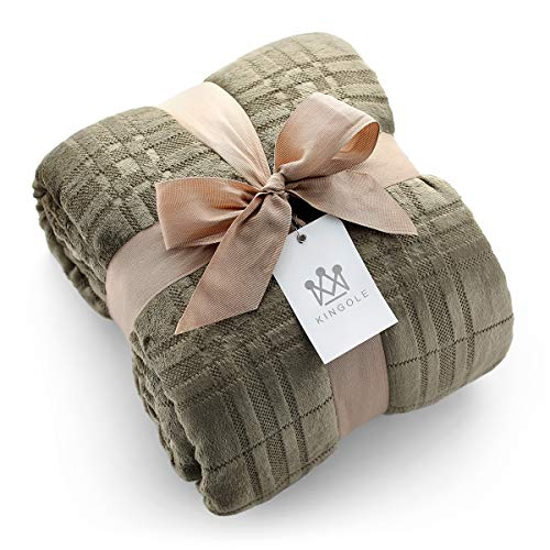 Kingole Flannel Fleece Microfiber Throw Blanket, Luxury Olive Grid Pattern Twin Size Lightweight Cozy Couch Bed Super Soft and Warm Plush Solid Color 350GSM (66 x 90 inches)
