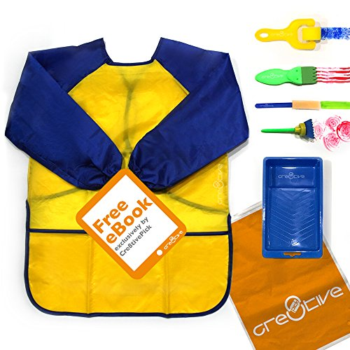 Cre8tivePick kids art & craft, waterproof art smock for kids, e-book guide + 1 apron + 5 art tools included, early learning painting tools, long sleeve waterproof apron with 3 roomy pockets.