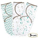 Pucksack Baby Wickel-Decke für 0-3 Monate 3er Pack mit verstellbaren Flügeln, 100% Premium Baumwolle Schlafsack für Neugeborene, Säuglinge und Kleinkinder, Universal Decke für Mädchen und Jungen