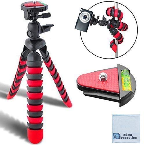 """12"""" Inch Flexible Tripod w/ Wrapable Legs. Quick Release Plate for DSLR Cameras and Camcorders, eCost Microfiber Cleaning Cloth"""