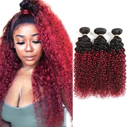 Ombre Dark Red Curly Weave Human Hair 3 Bundles 99J Brazilian Curly Hair 100g Bundles Burgundy Kinky Curly Human Hair Extensions for Black Women (12 14 16 )