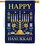Ornament Collection Happy Hanukkah House Flag Winter Candle Bonsai Menorah Jewish Chanukah David Small Decorative Gift Yard Banner Made in USA 28 X 40