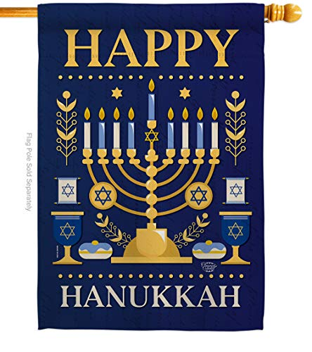 Ornament Collection Happy Hanukkah House Flag Winter Candle Bonsai Menorah Jewish Chanukah David Small Decorative Gift Yard Banner Made in USA 28 X 40