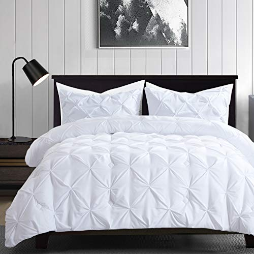 HOMBYS White Comforter Set King Size Lightweight Soft Pinch Pleat Duvet Insert with 2 Pillow Shams All Season 3-Piece Down Alternative Comforter Sets Hypoallergenic Machine Washable Bedding Set