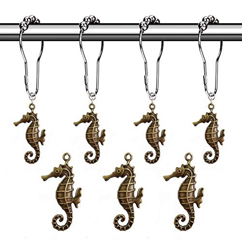 Aitian Shower Curtain Hooks Rings - Sea Horse Decorative Accessories Set,Tropical Island, Coastal Beach,Ocean, Nautical Boat,Modern Seaside Sand Scenic Theme Bathroom Decor,12 PCS