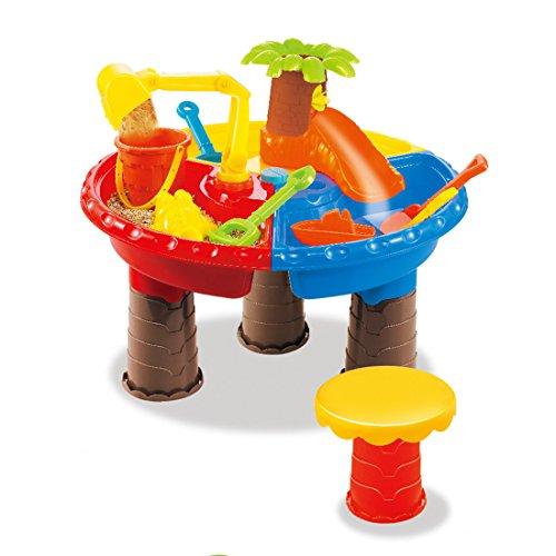 Seciie 22er Set Sandkastentisch für Kinder mit 1 Hocker - Spieltisch, Förmchen, Gießkanne, Schaufel - Spielen mit Sand und Wasser