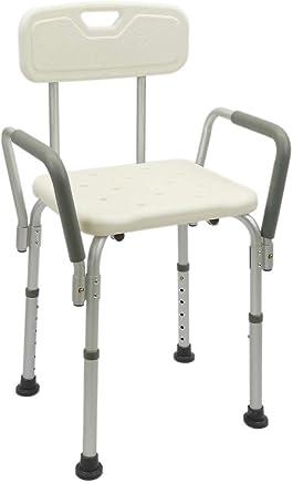PrimeMatik KD06 - Silla de ducha con reposabrazos ajustable en altura para personas mayores