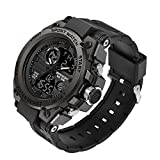 KXAITO Men's Watches Sports Outdoor Waterproof Military Watch Date Multi Function Tactics LED Alarm Stopwatch (26_Black)