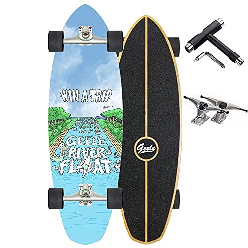 VOMI Adultos Skateboard Completo 75×24cm, 8 Capas Monopatín de Madera de Arce, Monopatín Rodamiento ABEC-7, 4 Ruedas Doble Patada Skateboard, para Adolescentes Principiantes Niñas,B
