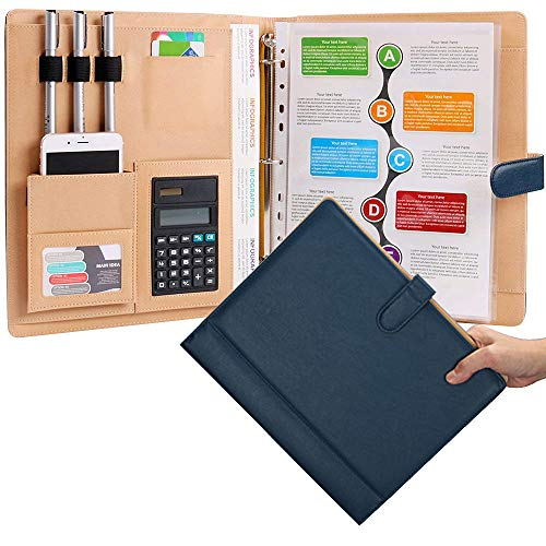 Leather 3 Ring Padfolio with Calculator Blue Professional Portfolio Binder Organizer Briefcase Personalized Document Folder