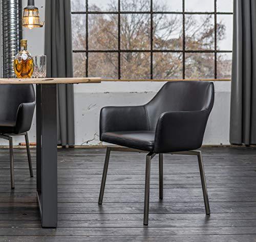 KAWOLA Stuhl Loui Sessel Esszimmerstuhl Kunstleder schwarz, weiß, grau hellgrau (schwarz)