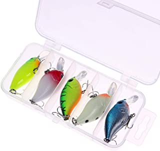 RAYNAG 5Pcs Mini Fishing Lure Baits 2 Treble Hooks Hard Crankbait Bass Fishing Topwater Lures Kit for Bluegill Crappie Per...