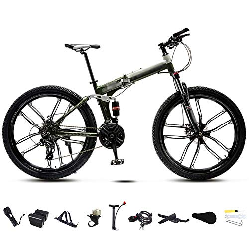 26-inch Dual disc Brake Bike, Neutral Commuter Bike, 30-Speed Gear Foldable Mountain Bike, Off-Road Variable Speed Bike,