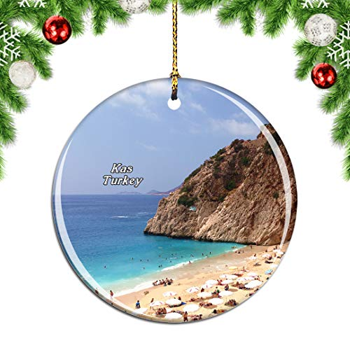 Weekino Turchia Kas Decorazione Natalizia Albero di Natale Ornamento Pendente sospeso Città Viaggi Souvenir Collection Porcellana da 2,85 Pollici