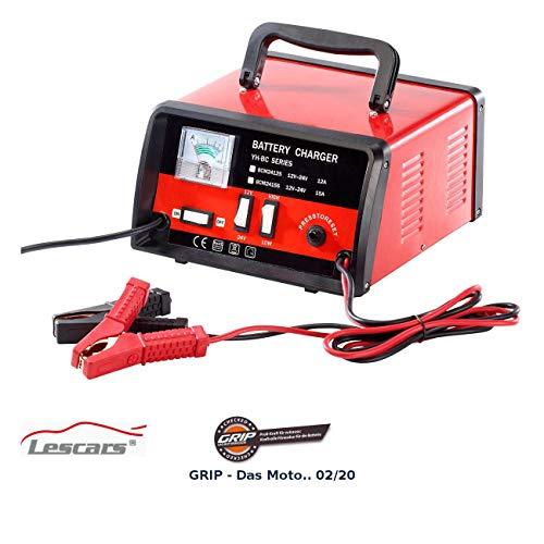 Lescars Autoladegerät: Profi-Batterieladegerät für 12/24 Volt, max. 15 A (Kfz Batterie Ladegerät)
