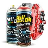 Kit Pintura para Pinzas de Freno Super Brillo en Spray 400ml (x1 Spray Pintura + x1 Spray Barniz Brillo) - Fácil aplicación - Acabado Profesional (11 Colores a Elegir) (Rojo)