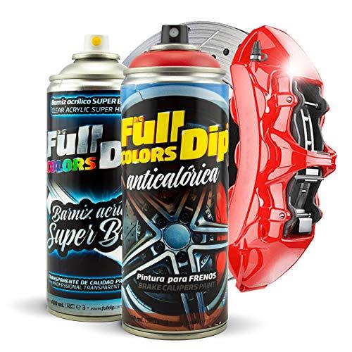 Lack-Set für Bremssättel, super glänzend, Spray, 400 ml (1 Sprayfarbe + 1 Spraydose Glanzlack) - Einfache Anwendung - Professionelles Finish (11 Farben zur Auswahl) (rot)