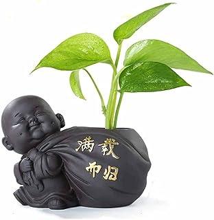 ZLBYB 1PCS Ceramic Tea pet Small Buddha Statue Monk Figurine Ornaments Desktop Flower Pot Purple Ceramic Decoration Tea Ac...