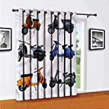 Vintage Living Room Sliding Door Curtain Colorful Scooters Bikes Office Single Panel W84 x L108 Inch