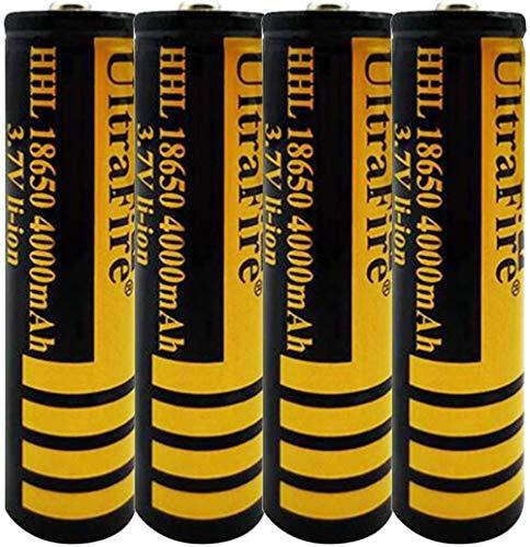4pcs 18650 3.7v baterías Recargables Li-Ion 4000mAh Batería de Litio de Litio de Gran Capacidad Las baterías Superiores se Pueden recargar 1200 Veces Las baterías Recargables baterías 18 * 67mm