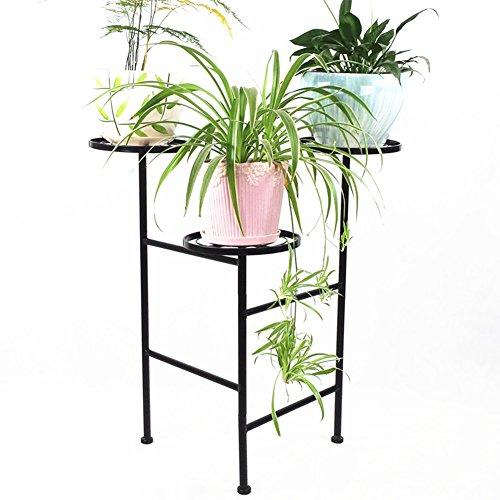 WLM Stand Support De Fleurs Noir Sol Pliable Support De Fleurs En Fer Forgé Support De Stockage De Grande Capacité Pot De Fleurs Rack Présentoir A+