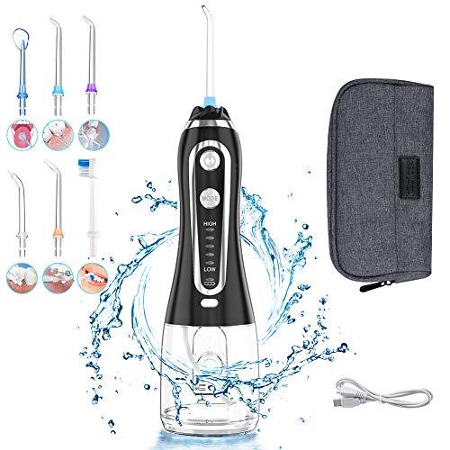Munddusche Elektrisch Kabellos, Uvistare Professional Wasser Flosser Oral Irrigator IPX7 Wasserdicht, Zahnreiniger mit 300 ML Wassertank 5 Modi und 6 Düsen, Schwarz