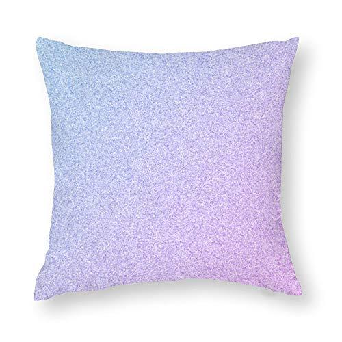 Pastel Ombre Glitter Cotton Linen Blend Throw Pillow Covers Case Cushion Pillowcase with Hidden Zipper Closure for Sofa Bench Bed Home Decor 18'x18'