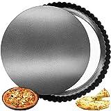 FANDE Antiadherentes Quiche Tart Pan, Bandeja de Tarta de Tartas suelta extraíble, Pan de Quiche de Tartas Redondas con Base Desmontable, 30cm