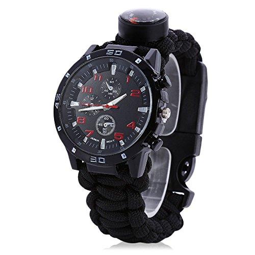 Uomini Donne orologio con Paracord, Bussola, fischietto di emergenza, Fire Starter, analogico orologi, sopravvivenza Gear, resistente all' acqua, regolabile, Black