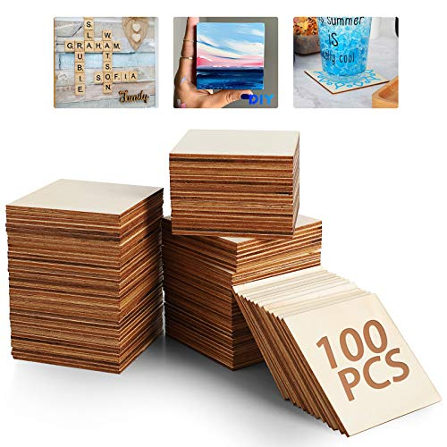 Unlackiertes Holzbrett - 100 Stück 7,6 x 7,6 cm leere Natürliche Scheiben Holzscheiben, Holzquadrate für DIY Basteln Malerei, Scrabble Fliesen, Untersetzer Holz, Pyrographie,Holz Deko