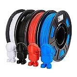 AMOLEN Filamento PLA 1.75mm, Impresora 3D Filamento, Filamento PLA Rojo, Azul, Negro, Blanco, Material PLA de Impresión 3D, 4x250g (en Total 1KG)