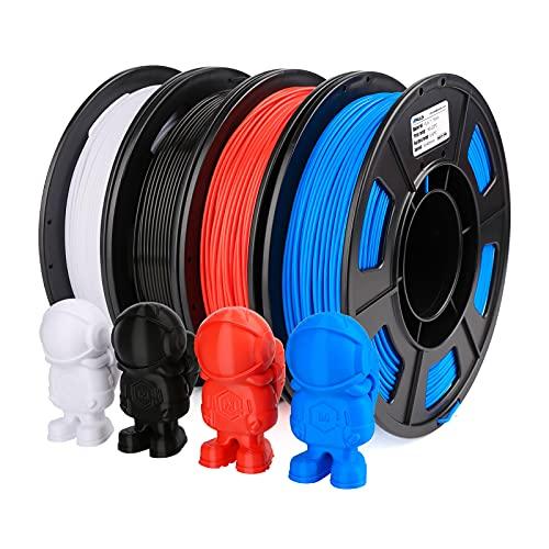 AMOLEN 3D Printer Filament Set, PLA Filament Bundle, Black, White, Red, Blue Filament 250g/Spool, PLA Filament 1.75mm 1KG in Total, Filament 3D Printing PLA Materials