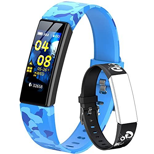 HOFIT Pulsera Actividad para Niños, Reloj Inteligente con Podómetros, Monitor de Frecuencia Cardíaca y Sueño, Cronómetro, Pulsera Deportiva Banda Inteligente con 2 Pulseras (Azul Camuflaje)